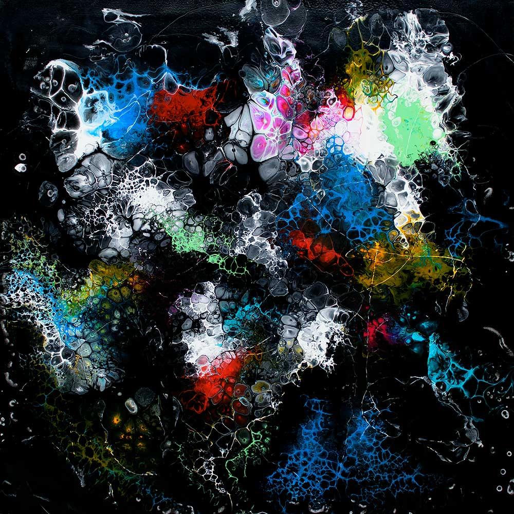 Store moderne malerier er perfekt billed kunst til væggen i stuen - Lights II 100x100 cm