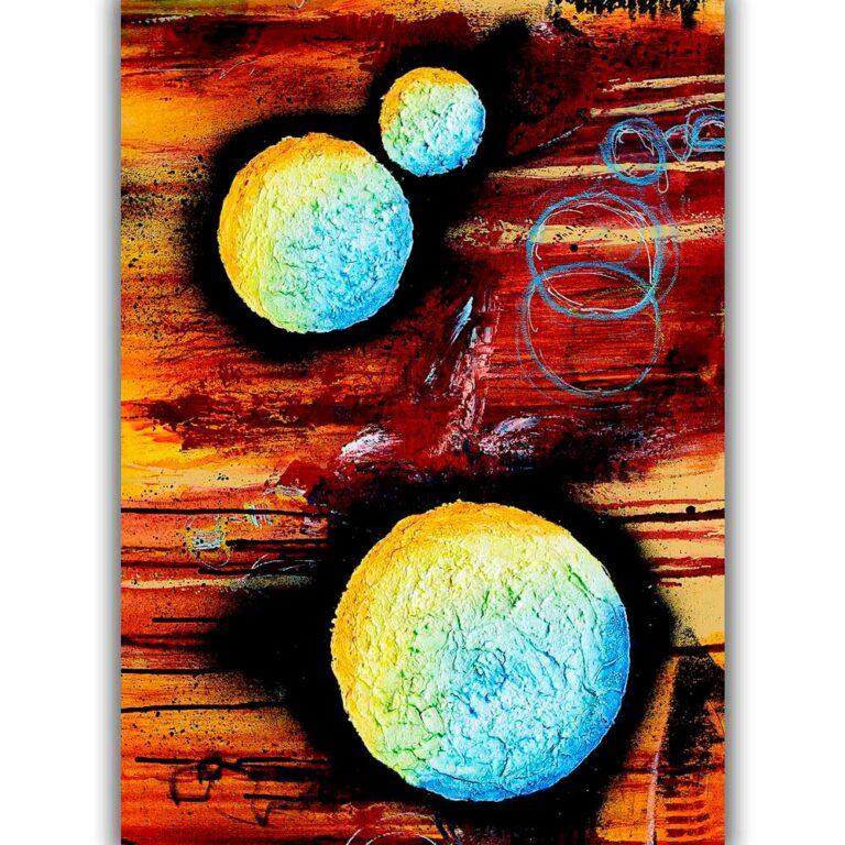 Store kunstplakater er flotte billeder med moderne kunst til væggen i stuen Sphere II