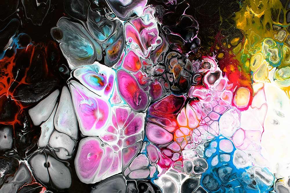 Store abstrakte malerier med sort baggrund - Lights II 100x100 cm