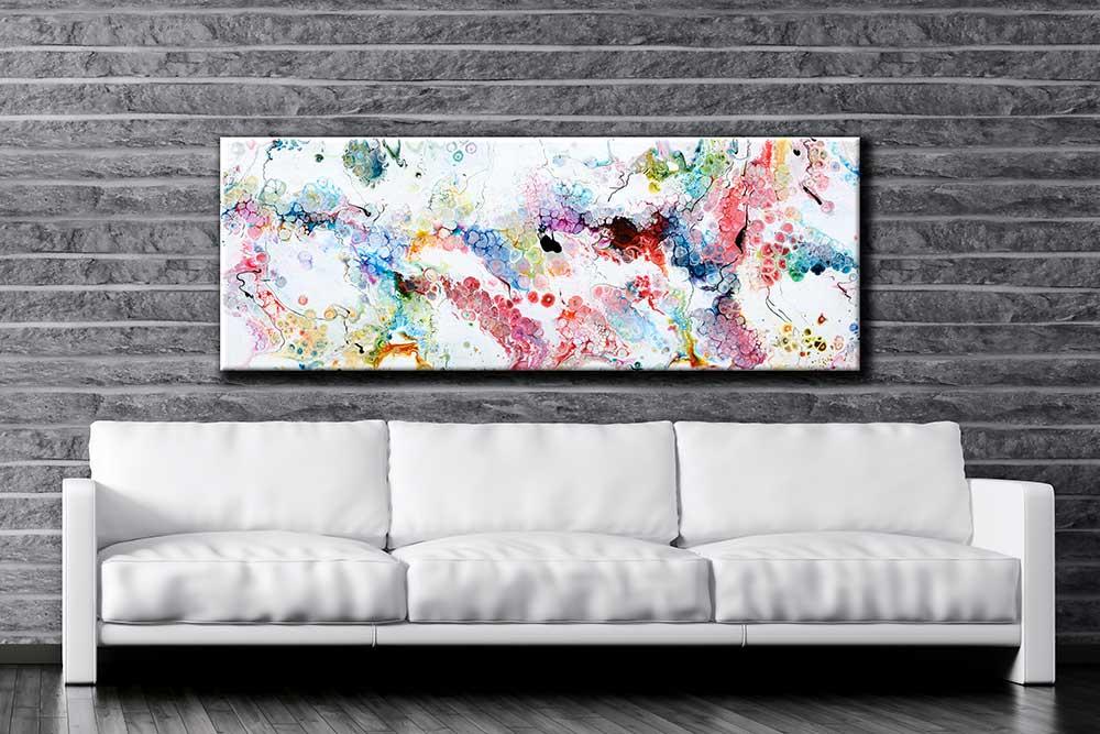 Store lærredstryk er smuk abstrakt kunst til væggen - Alleviate I 60x180 cm