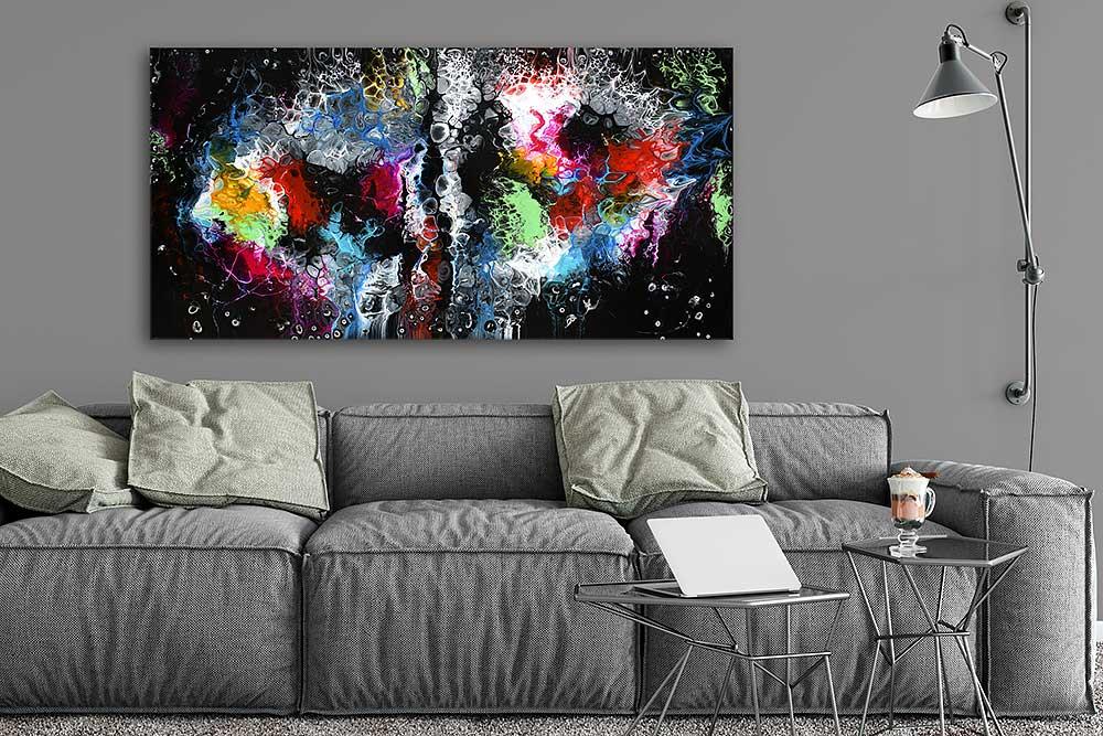 Store malerier er flot abstrakt billede kunst til væggen i stuen - Lights I 70x140 cm