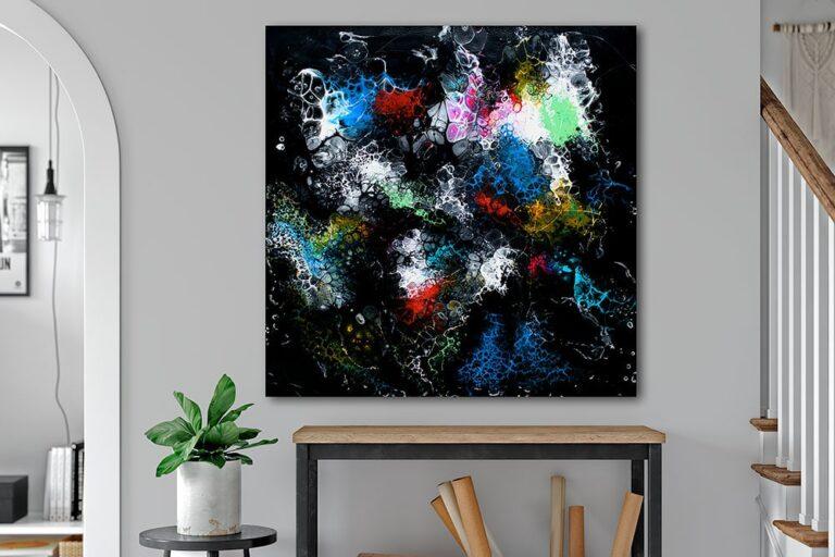 Store malerier er flotte billeder til stuen - Lights II 100x100 cm