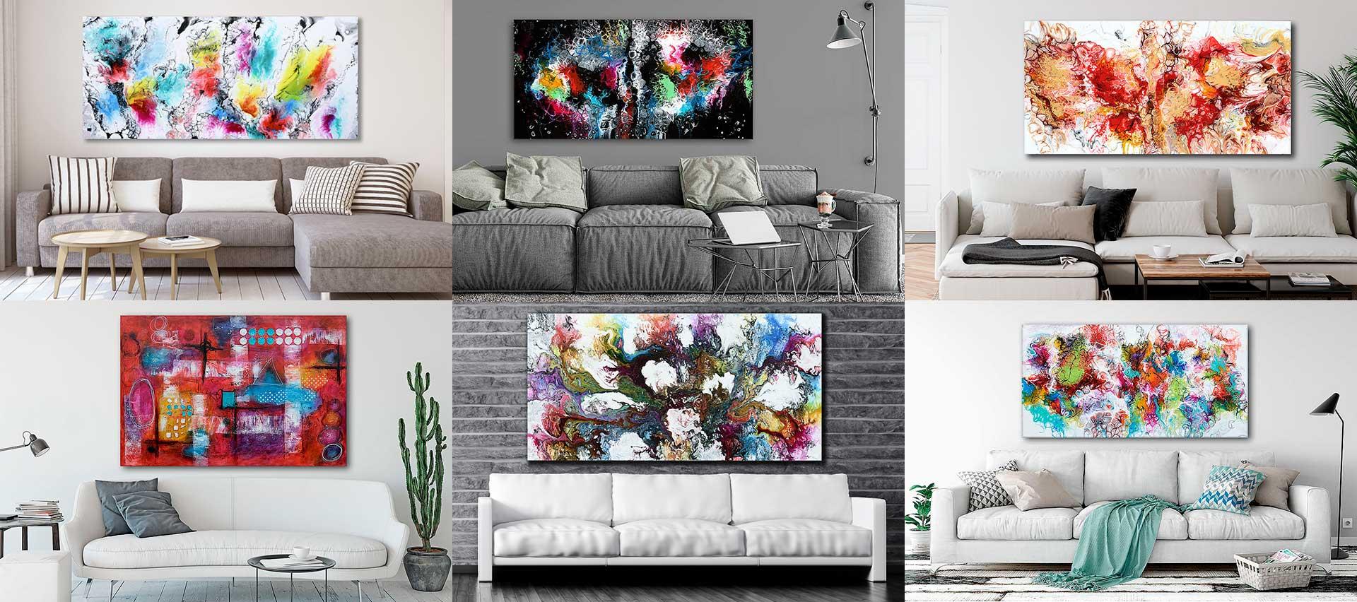 Store malerier til væggen i stuen til salg