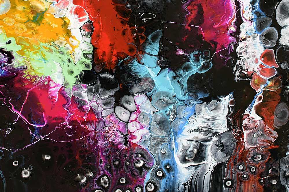 Detaljer af et stort farverigt abstrakt moderne maleri - Lights I 70x140 cm