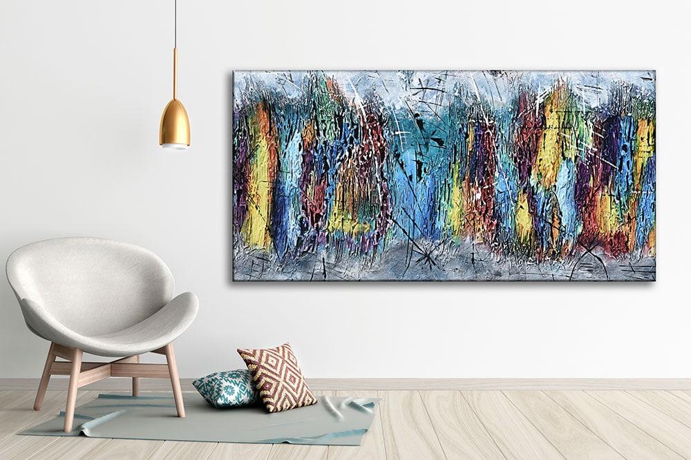 Abstrakt kunst trykt på lærred til væggen - Downtown I 70x140 cm