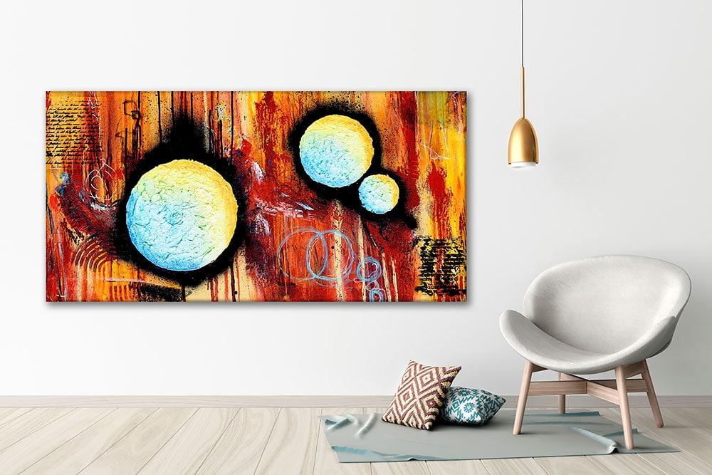 Abstrakte lærredstryk til hjemmet - Sphere II 70x140 cm