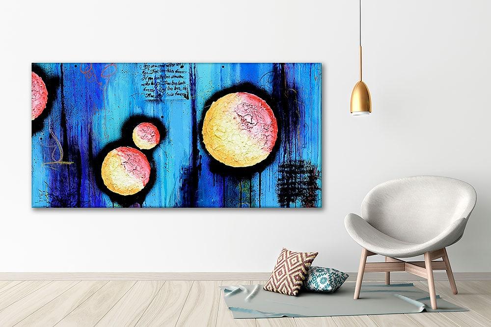 Flotte print på lærred i blå røde gule farver - Sphere I 70x140 cm