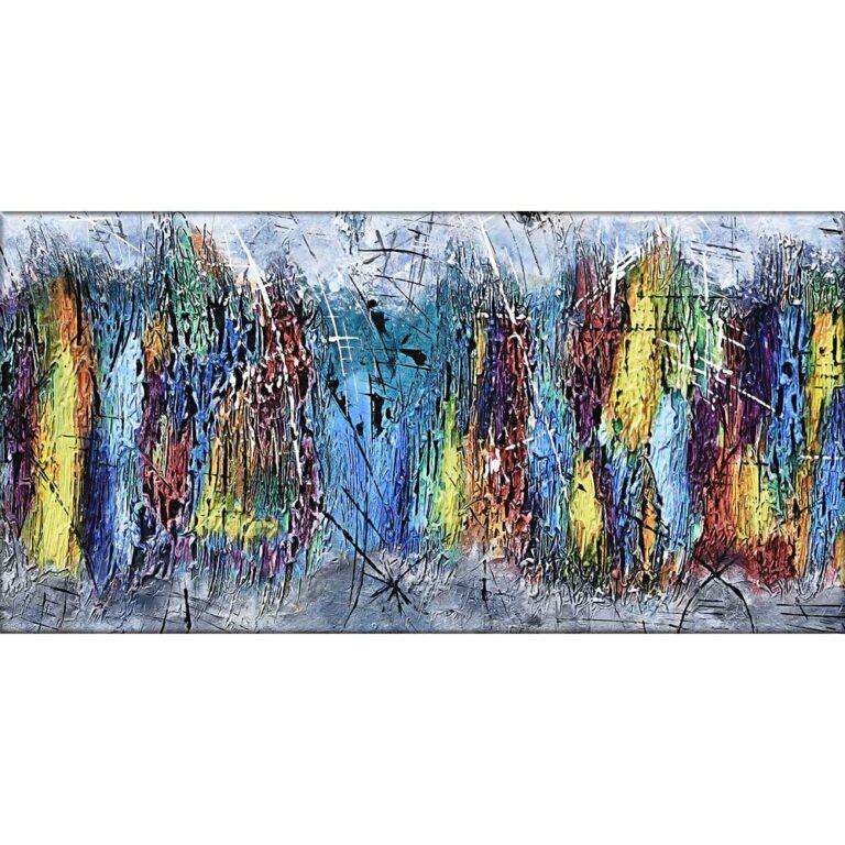 Maleri trykt på lærred i skønne farvetoner - Downtown I 70x140 cm
