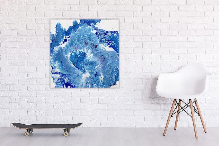 Abstrakt moderne maleri i blå farvenuancer - Blues I 60x60 cm