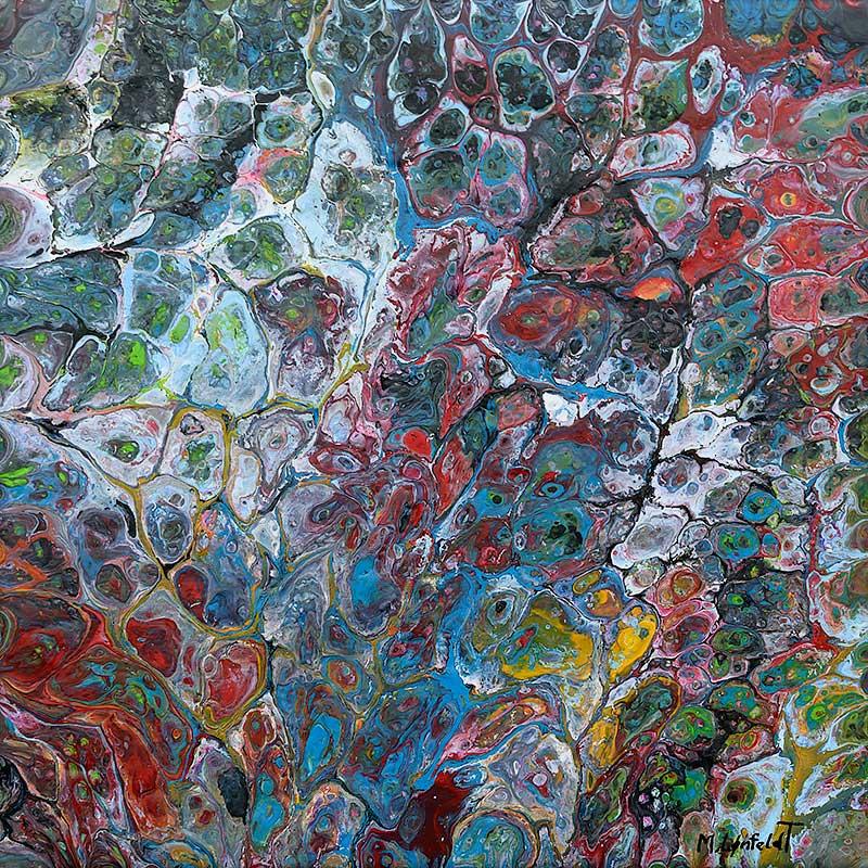 abstrakt maleri i mørke farvetoner Composite II 30x30 cm