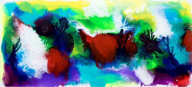 Stort maleri med farver i flotte nuancer - Deflection I 80x180 cm