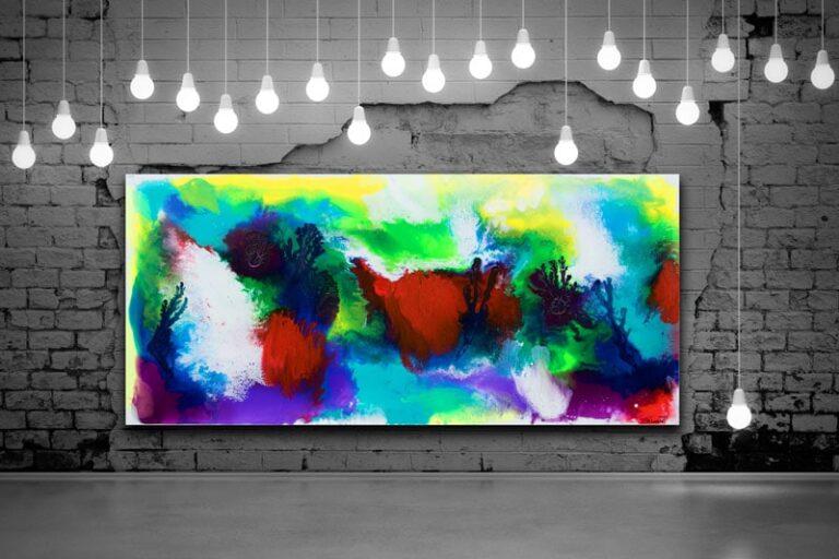 Farverige store malerier til stuen - Deflection I 80x180 cm