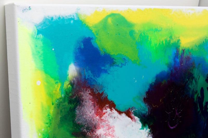 Farverige store malerier med flotte detaljer - Deflection I 80x180 cm