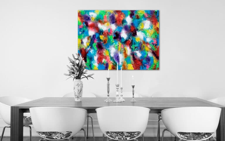Flot maleri i røde blå og gule farver til stuen - Alteration III 80x60 cm