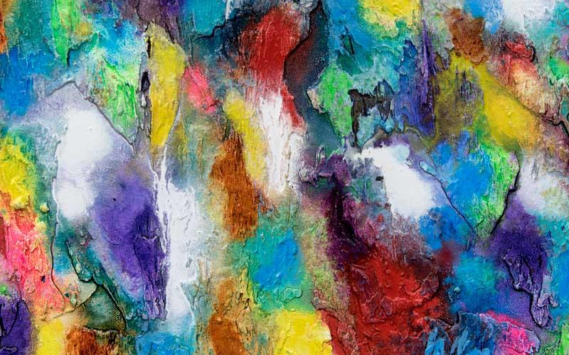 Flot maleri i skønne farver - Alteration III 80x60 cm