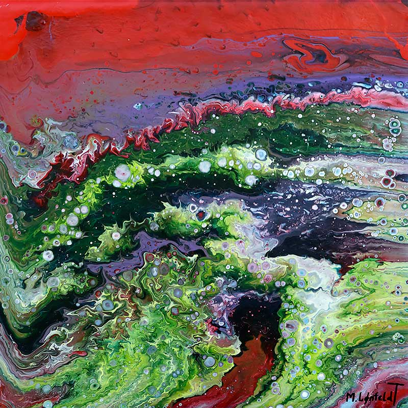 Moderne abstrakt maleri i røde farver Inference II 30x30 cm