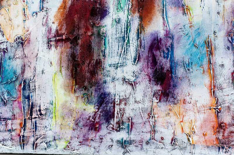 Abstrakt maleri med lilla og brune farver - Daylight I 80x80 cm