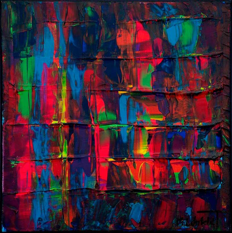 Farverige små malerier er tidsløs kunst som er et godt match til lyse vægge - Medium Abstracts III 40x40 cm