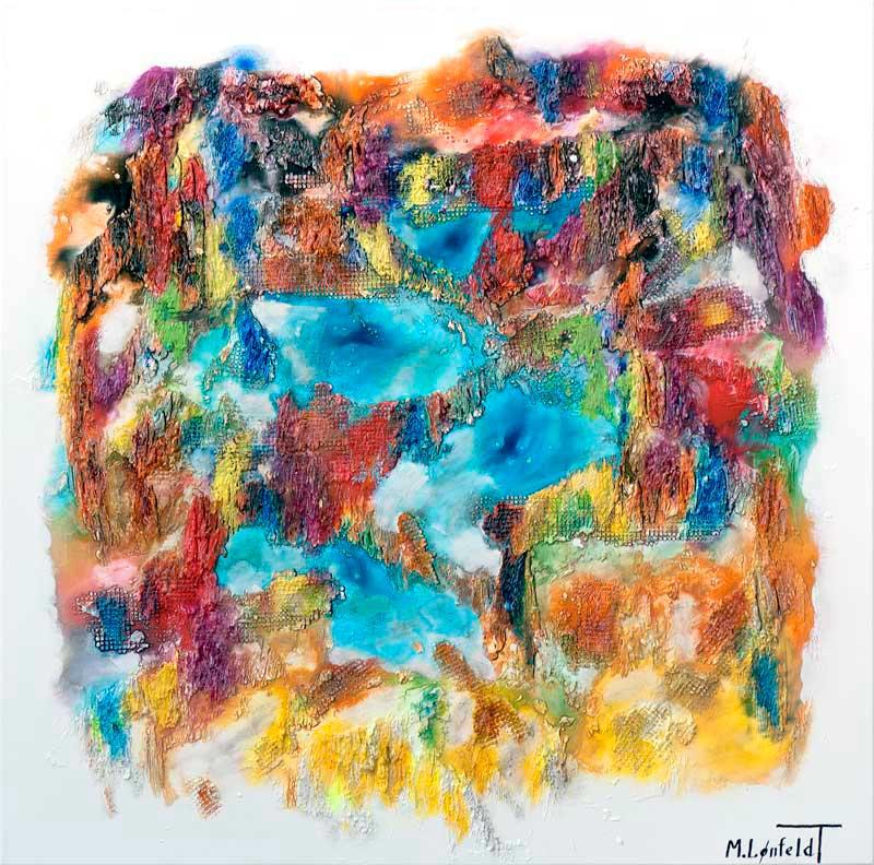 Smukt moderne maleri i skønne farvetoner - Nature Colors II 100x100 cm