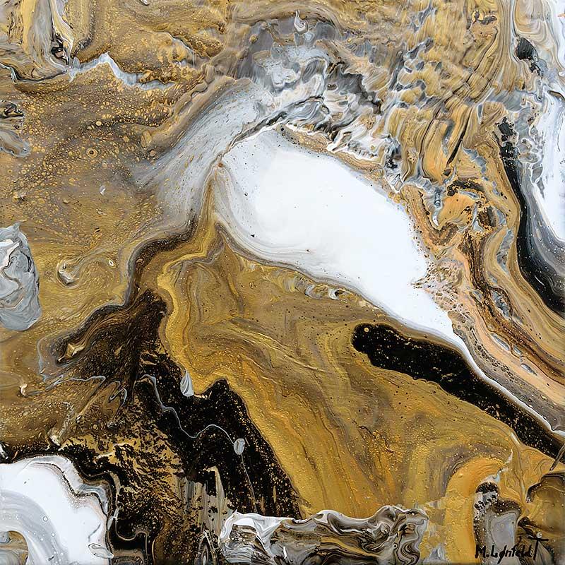 Moderne maleri i guld sølv og kobber Precious I 30x30 cm