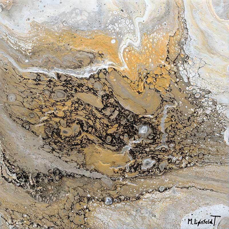 Abstrakt maleri i guld sølv og kobber Precious III 30x30 cm