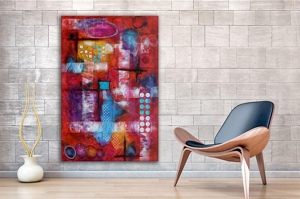 Farverige abstrakte malerier er flotte billeder til væggen i stuen Intuition I 150x100 cm