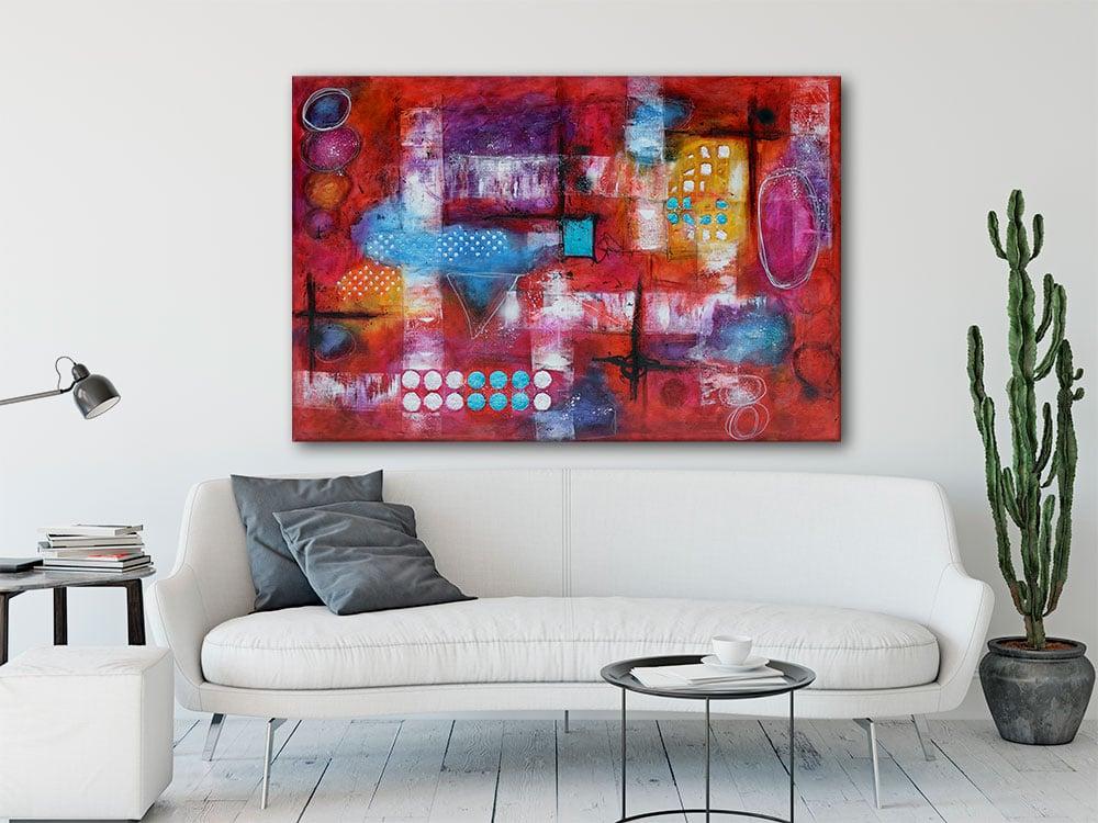 Moderne abstrakte malerier passer perfekt til væggen i stuen Intuition I 100x150 cm
