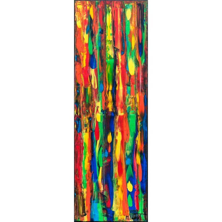Aflangt maleri i skønne røde, grønne, blå og gule farvenuancer - Tribal Colors III 120x40 cm