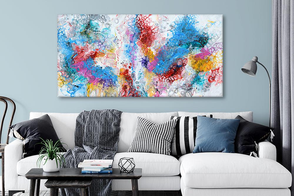 Farverige akrylmalerier er flotte billeder til stuen Unbound II 70x140 cm