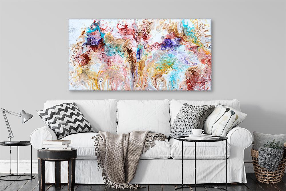 Moderne kunst maleri i skønne farver til hjemmet Dune I 70x140 cm