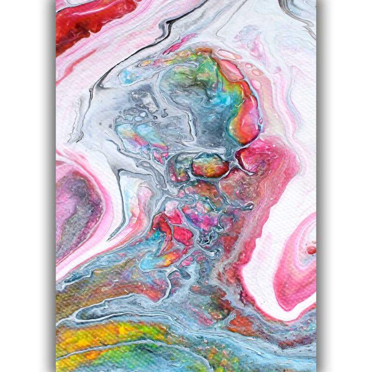 Abstrakt kunstprint med flotte farver til væggene i hjemmet Flows II