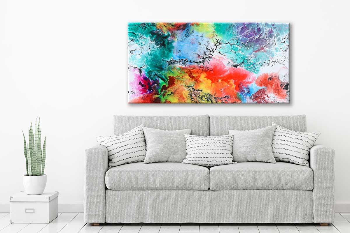 Abstrakt kunsttryk på lærred til væggen i stuen Altitude III 70x140 cm