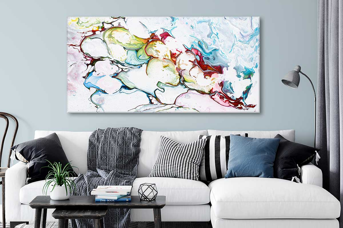 Abstrakt kunsttryk på lærred til vægge og stuer i moderne hjem Outline I 70x140 cm