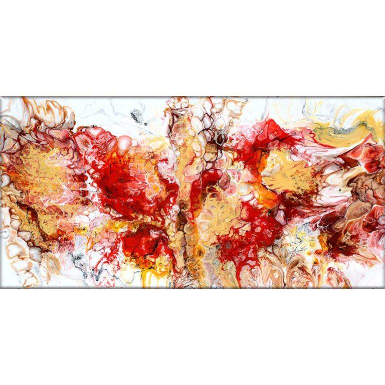 Abstrakt lærredsprint et flot lærredsbillede i røde, brune og sandgule farver Pulse I 70x140 cm