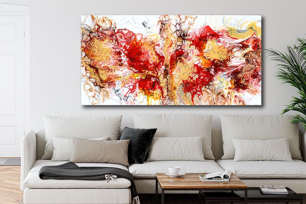 Abstrakt lærredsprint i et moderne farvestrålende design over sofaen Pulse I 70x140 cm