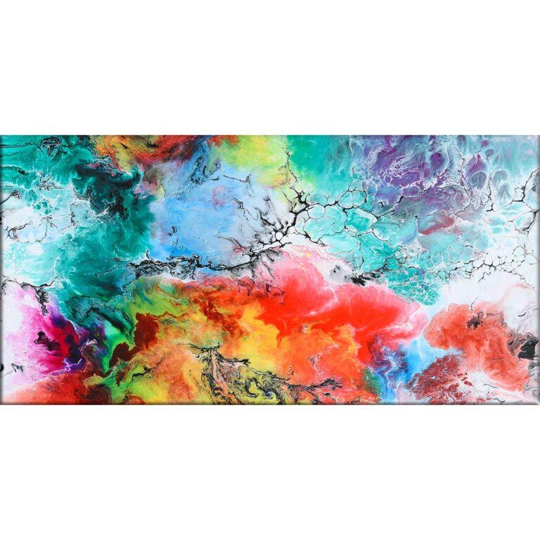 Farverigt kunsttryk på lærred i moderne design Altitude III 70x140 cm