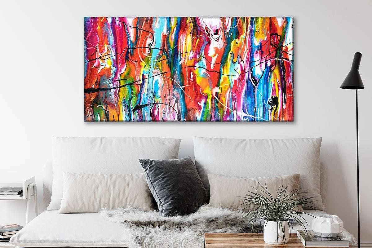 Farverig original kunst på lærredstryk til væggen over sofaen Heroic III 70x140 cm