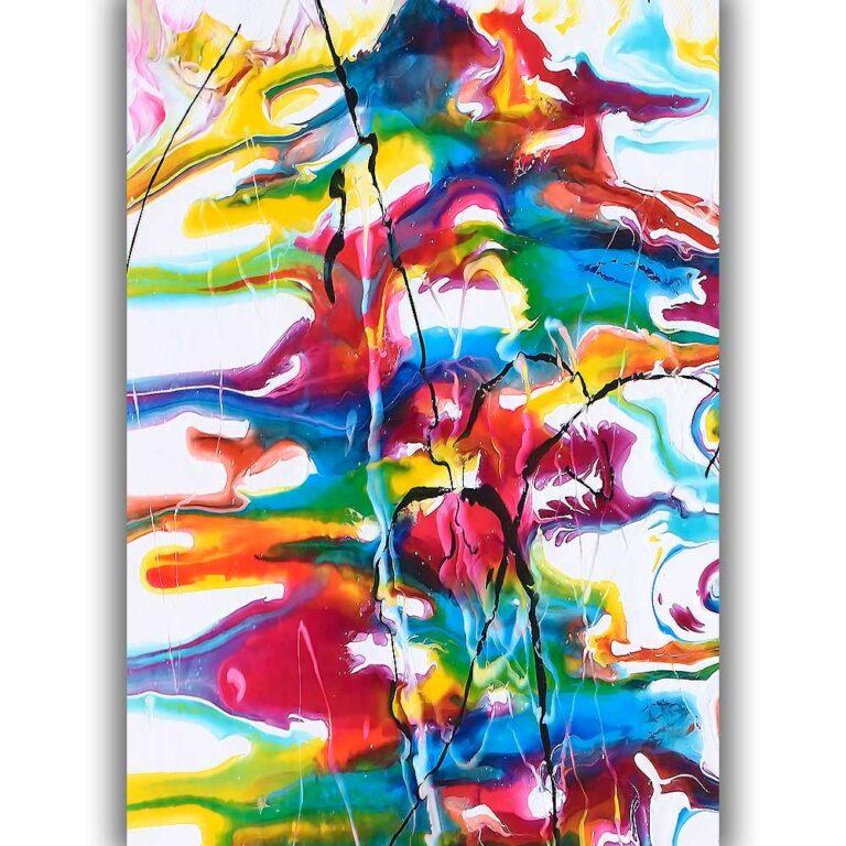 Farverig plakat i flot moderne unikt kunstdesign Heroic I