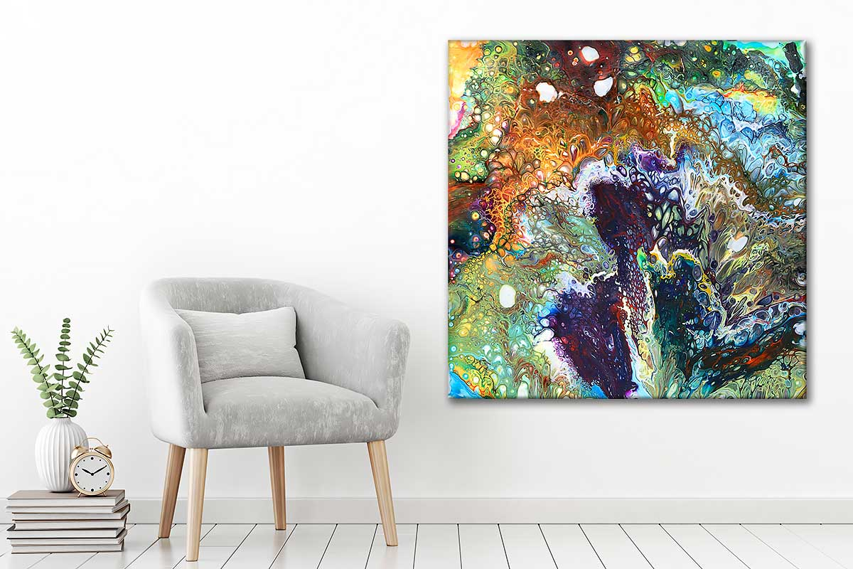 Farverigt lærredsbillede med kunst i dejlige farver til væggen i hjemmet Inspire I 100x100 cm
