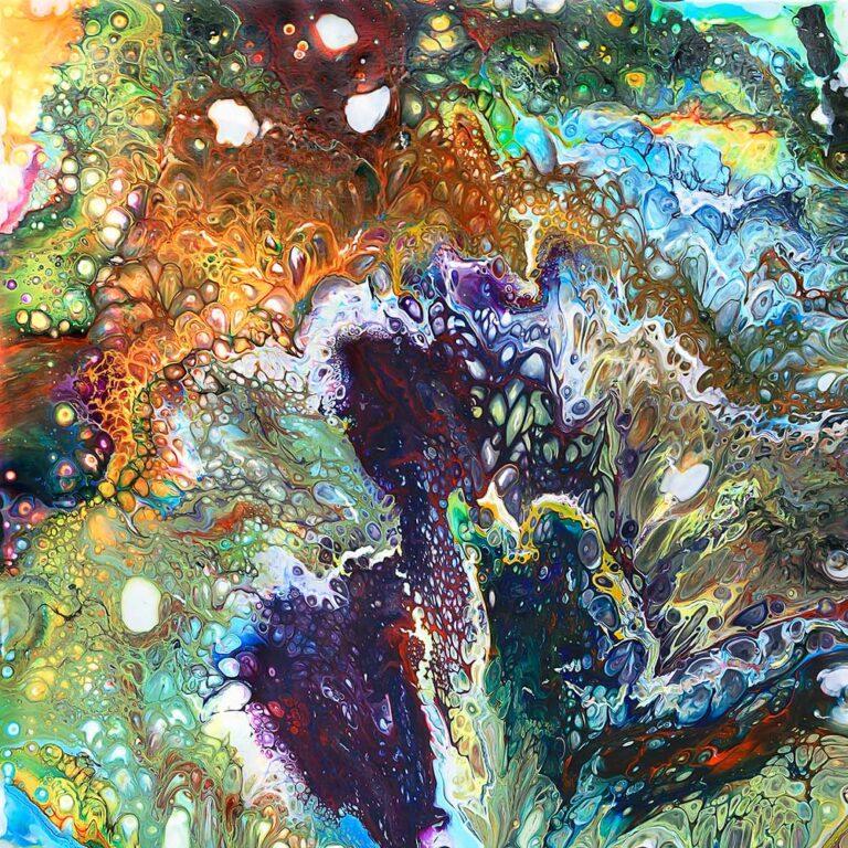 Farverigt lærredsbillede med kunst i et flot abstrakt design Inspire I 100x100 cm
