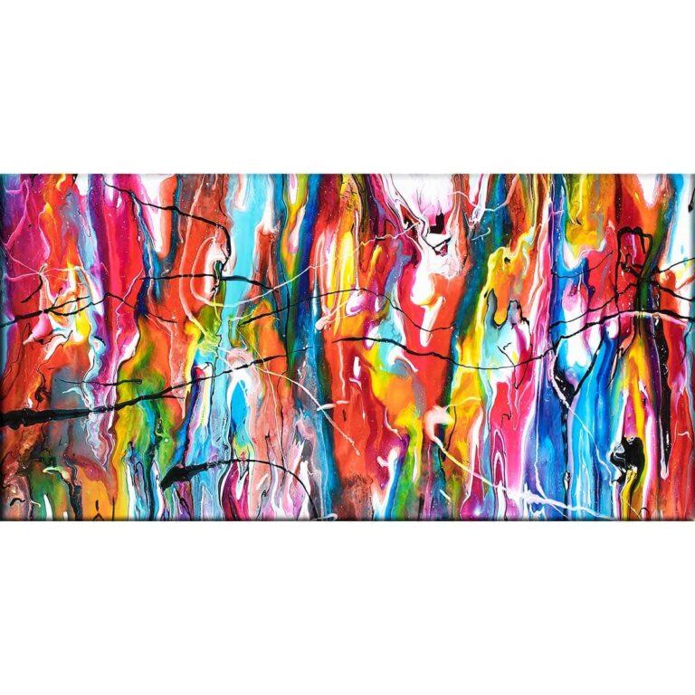 Farverigt originalt kunst på lærredstryk i unikt abstrakt design Heroic III 70x140 cm