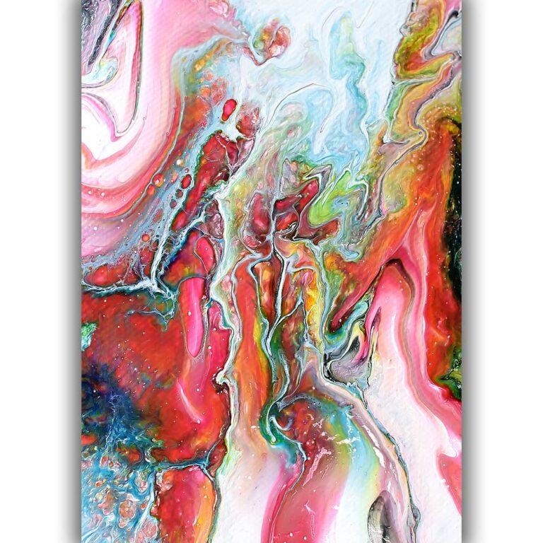 Fine art print med abstrakt kunst i flotte farver med fine detaljer Flows I