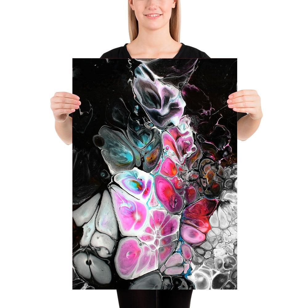 Fine art print i lækre pink og aquagrønne farvetoner på sort baggrund Lights I 50x70 cm