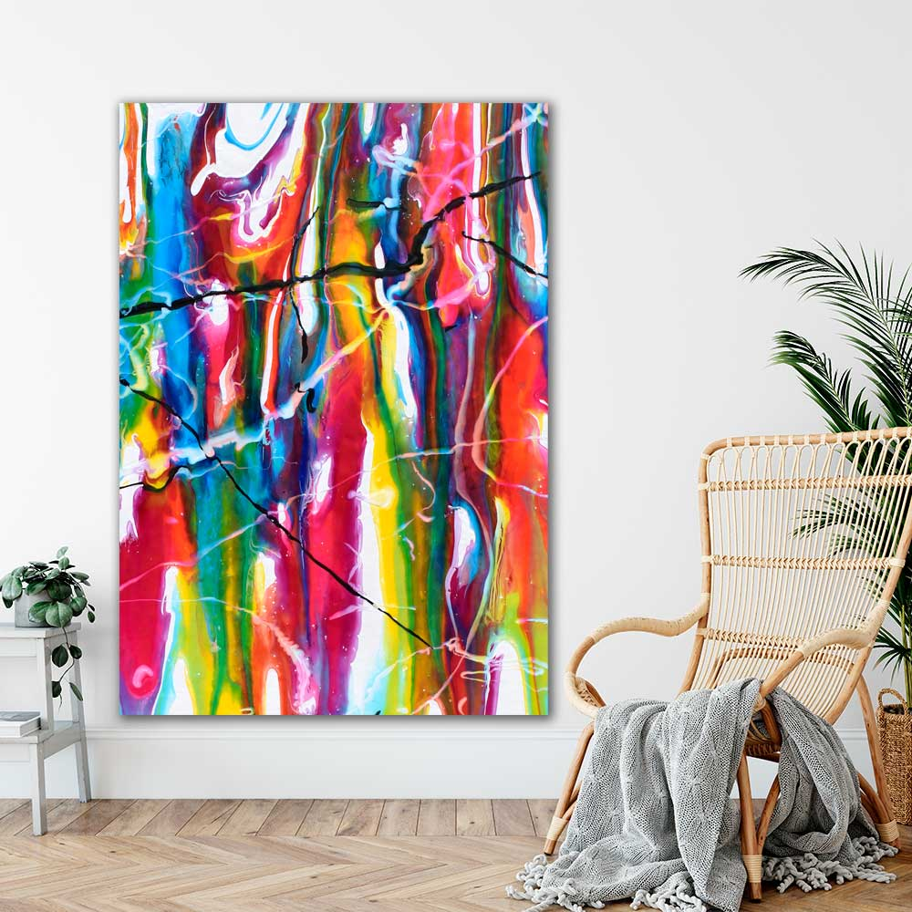Kæmpe abstrakte plakater med kunst i dejlige farver Heroic II 100x150 cm