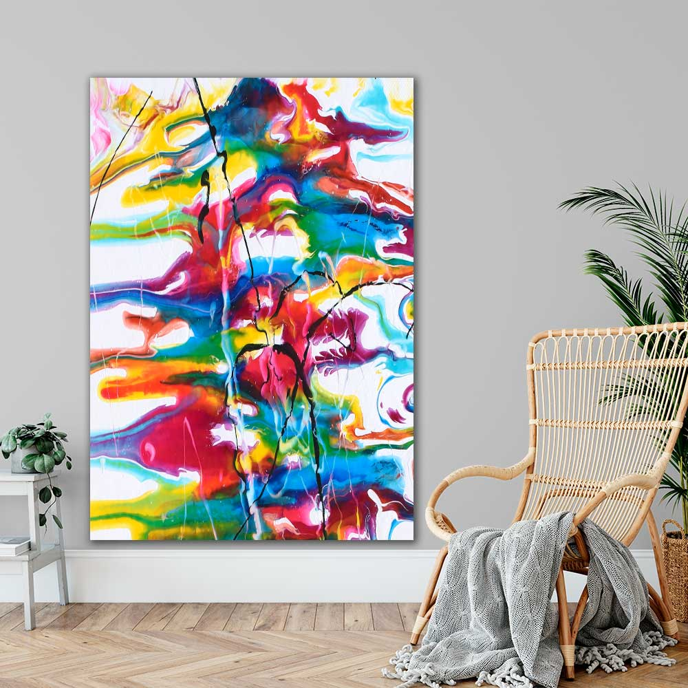 XXL kæmpe farverig plakat der giver liv på væggen i hjemmet Heroic I 100x150 cm
