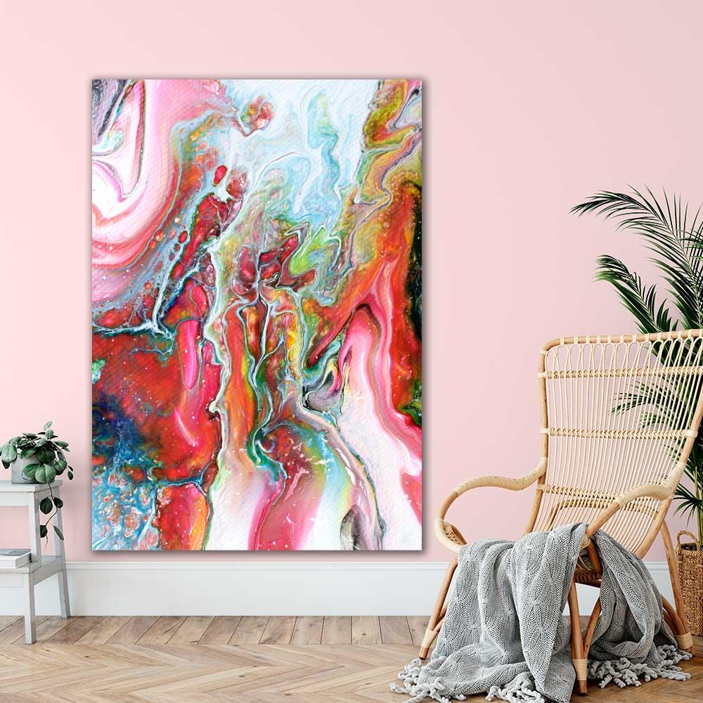 Kæmpe store fine art print med et moderne kunstdesign Flows I 100x150 cm