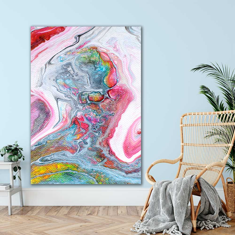 Kæmpe kunstprint i abstrakte farver til stuen Flows II 100x150 cm