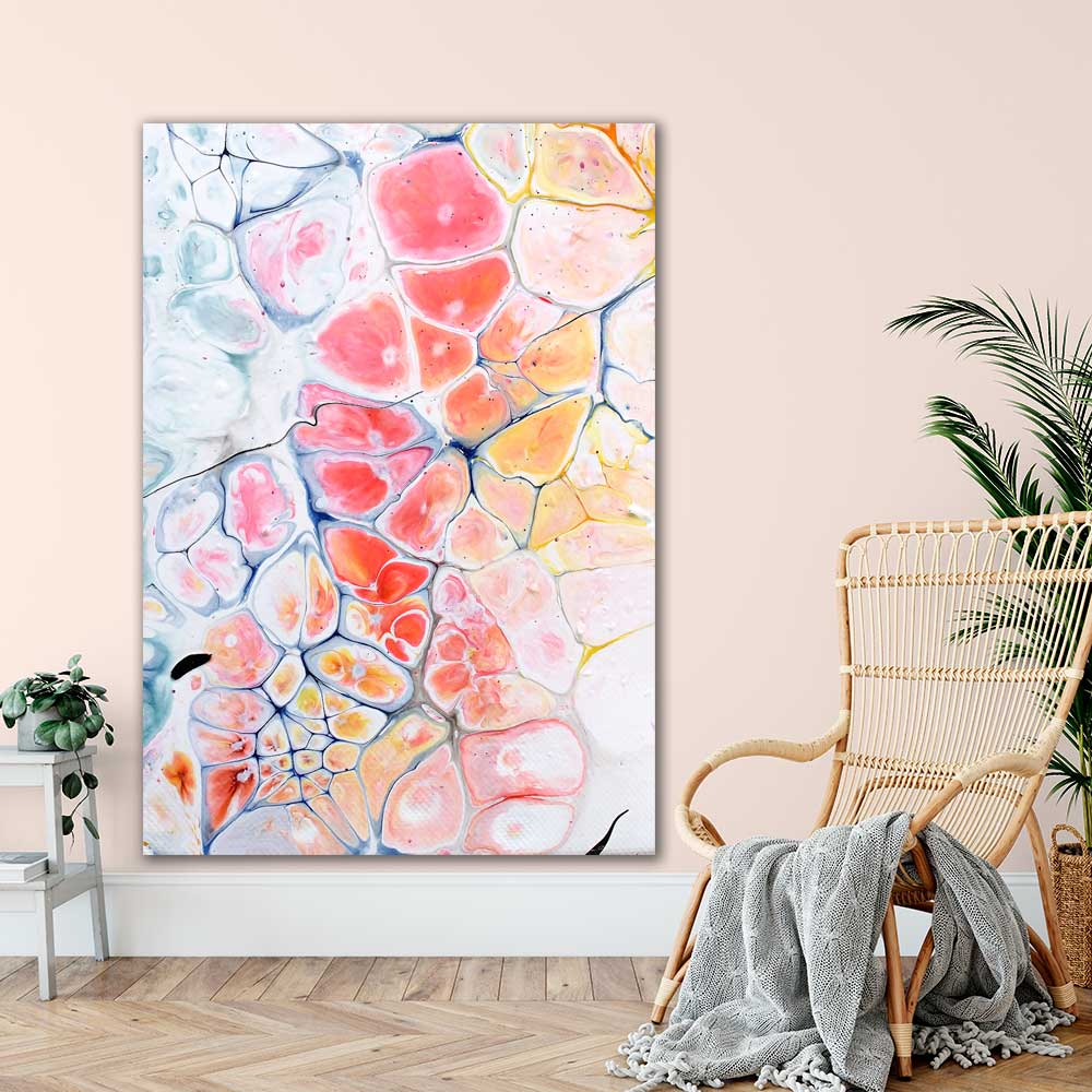 Kæmpe moderne kunstprint til stuen Elevation III 100x150 cm