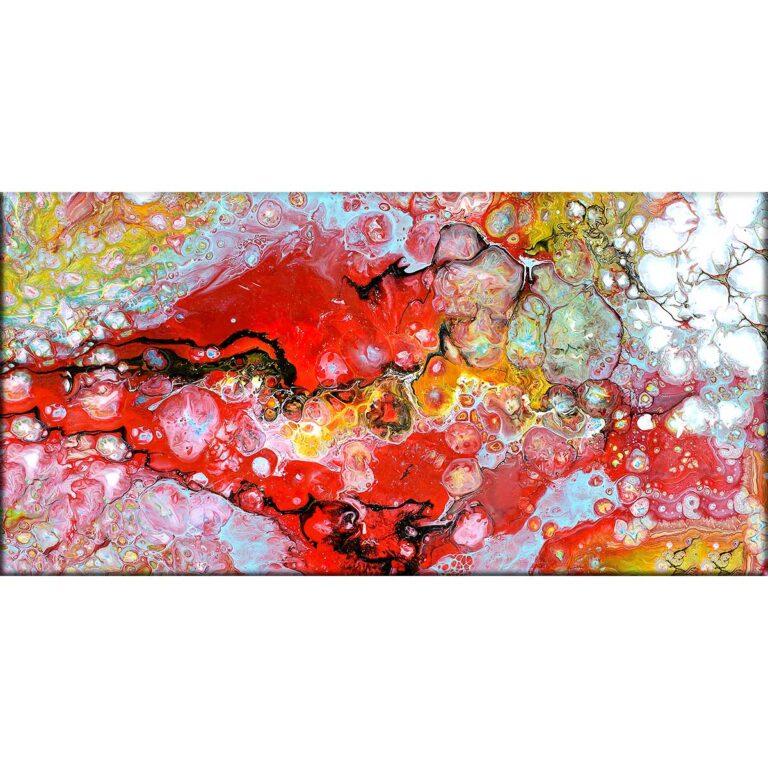 Kunst print på hør lærred i flotte røde og lyseblå farver Essence I 70x140 cm