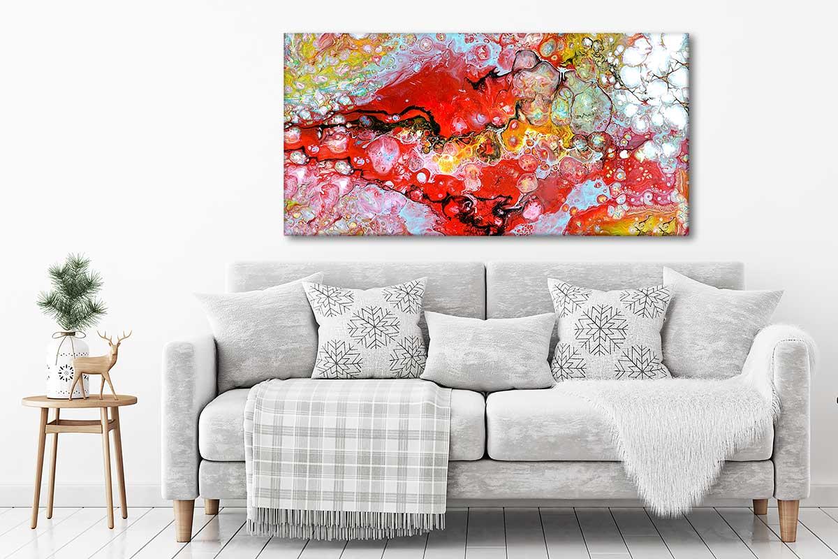 Kunst print på hør lærred i skønne farver til hjemmet Essence I 70x140 cm